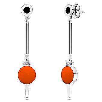 Oklahoma State University Two-Tone Enamel Dangle Earrings In Black And Dark Orange