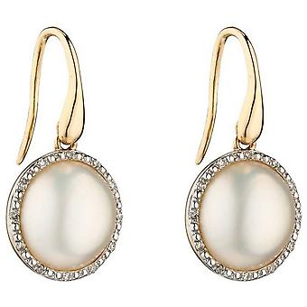 Elements Gold Mabe Pearl and Diamond Earrings - Silver/Cream/Gold