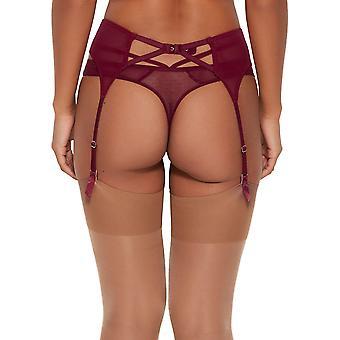 Gossard 16002 Women's VIP Romanchic Bordeaux Red Suspender Belt