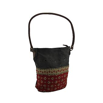 Red and Grey Quilted Canvas Shoulder Bag w/Leather Handle