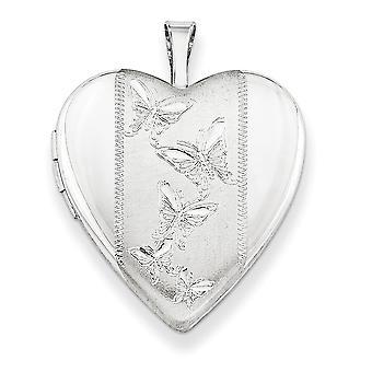 925 Sterling Argent Cadeau à motifs Boîte boîte Anneau de printemps non gravé poli et satin 20mm avec Butterflies Heart Lock