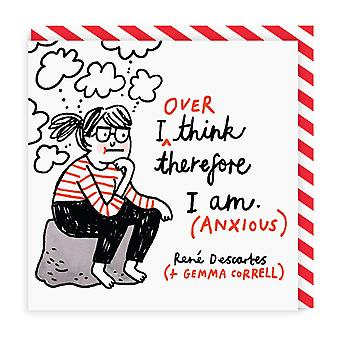 Ohh Deer I Over Think Therefore I Am Square Greeting Card