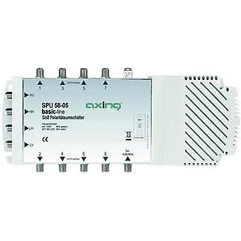 SATT multiswitch Axing SPU 58-05 innganger (multiswitches): 5 (4 SAT/1 terrestrial) nr. deltakere: 8 Quad LNB compatib
