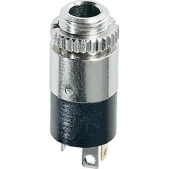 3.5 mm audio jack Socket, vertical vertical Number of pins: 3 Stereo Silver Hicon HI-J35SEF 1 pc(s)