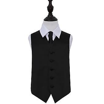 Boy's Plain Black satijn bruiloft gilet & Cravat Set