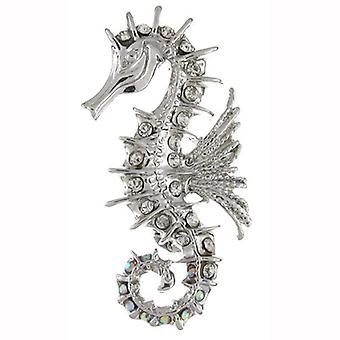 Brooches Store Clear Diamante Crystal Seahorse Brooch