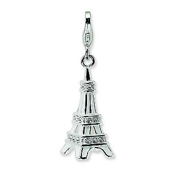 Sterling Silver Rhodium-plated Fancy Lobster Closure 3-D Enamel Crystal Eiffel Tower With Lobster Charm - Measures 32x11