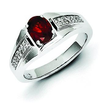 Sterling Silver Polished Prong set Gift Boxed Rhodium-plated Garnet and Diamond Mens Ring - Ring Size: 9 to 11
