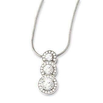 Sterling Silver Pave Rhodium-plated Lobster Claw Closure and Cubic Zirconia Polished Necklace - 18 Inch