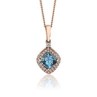 10K Rose Gold Diamond And Topaz Drop Pendant (0.1 Cttw, G-H Color, I2-I3 Clarity)