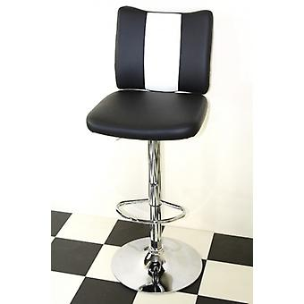 Bostony Retro Style Kitchen Breakfast Bar Stool American Diner Style Black Padded Seat Height Adjustable