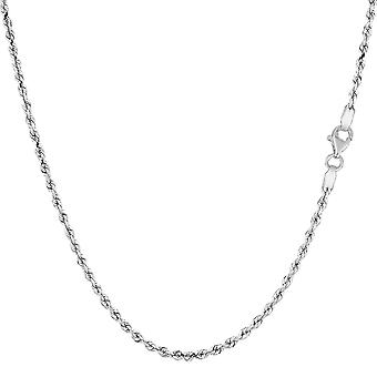 14k White Gold Solid Diamond Cut Royal Rope Chain halsband, 1,5 mm