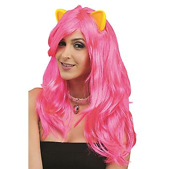 Pink Fantasy Wig With Yellow Cat Ears