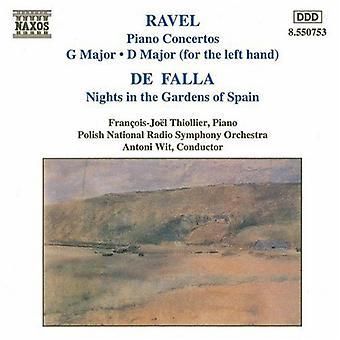 Ravel/Falla - Ravel: Klavierkonzerte; De Falla: Nächte in den Gärten von Spanien [CD] USA import