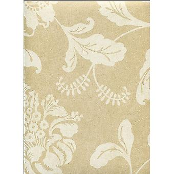 Floral Wallpaper Flowers Leaves Kenneth James Gold White Paste The Wall