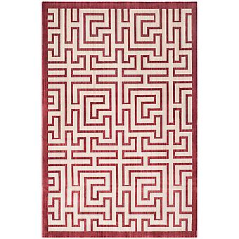 Contemporary Polyester Red Geometric Rug - Safavieh