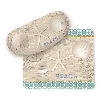 Seashells Starfish Sand Dollar on Beach Sunglasses Case with Lens Cloth