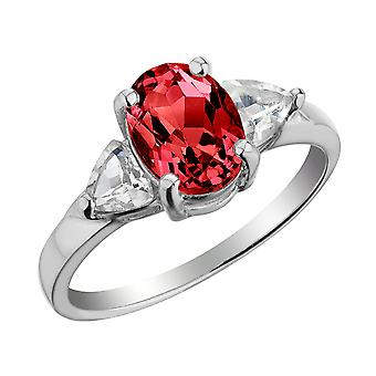 Created Ruby and White Topaz Ring in Sterling Silver