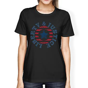 Liberty & Justice American Flag Shirt Womens Black 4th Of July Tee
