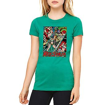 Red Sonja Battle paneler Junior kvinders Kelly Grøn T-shirt