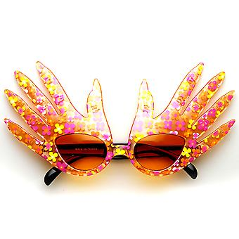 Hand Shape Finger Color Flower Print Costume Party Novelty Sunglasses