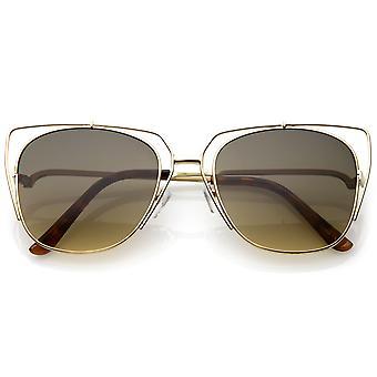 Offen Metall Cat-Eye Damensonnenbrille mit quadratischen flachen Objektiv und gebogene Armen schlank