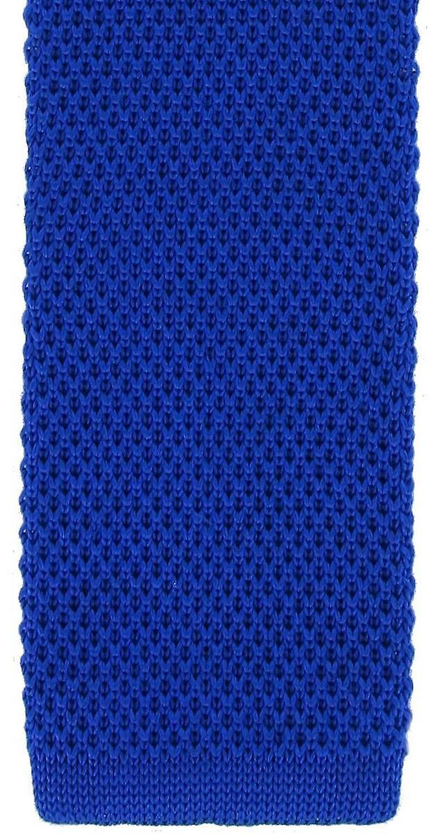 Michelsons of London Skinny Silk Knitted Tie - Blue