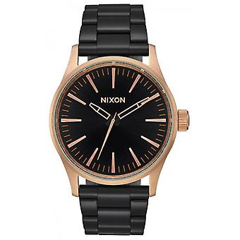 Nixon The Sentry 38 SS Watch - Black/Rose Gold