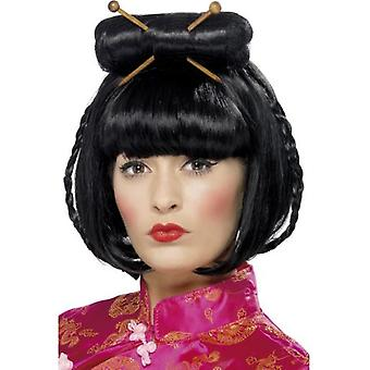 Smiffys Oriental Lady Wig Black Mid Length With Chopsticks (Costumes)