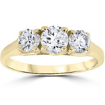 1 ct スリース トーン ダイヤモンド レディースの記念日の婚約指輪 14 k イエローゴールド