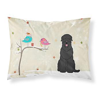 Weihnachtsgeschenke von Freunden schwarzer russischer Terrier Stoff Standard Pillowc