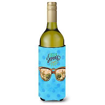 Beach Sunglasses Blue Polkadot Wine Bottle Beverge Insulator Hugger