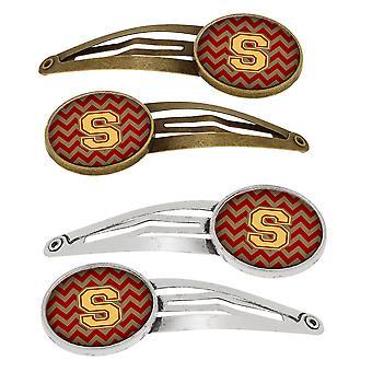 S の文字のシェブロンのガーネットと金 4 留めヘアー クリップのセット