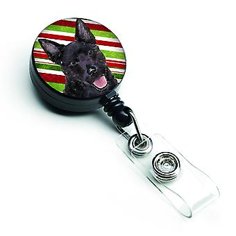 Australian Kelpie Candy Cane Holiday Christmas Retractable Badge Reel