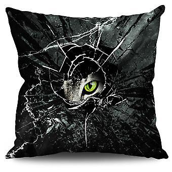 Glass Animal Angry Cat Linen Cushion Glass Animal Angry Cat | Wellcoda