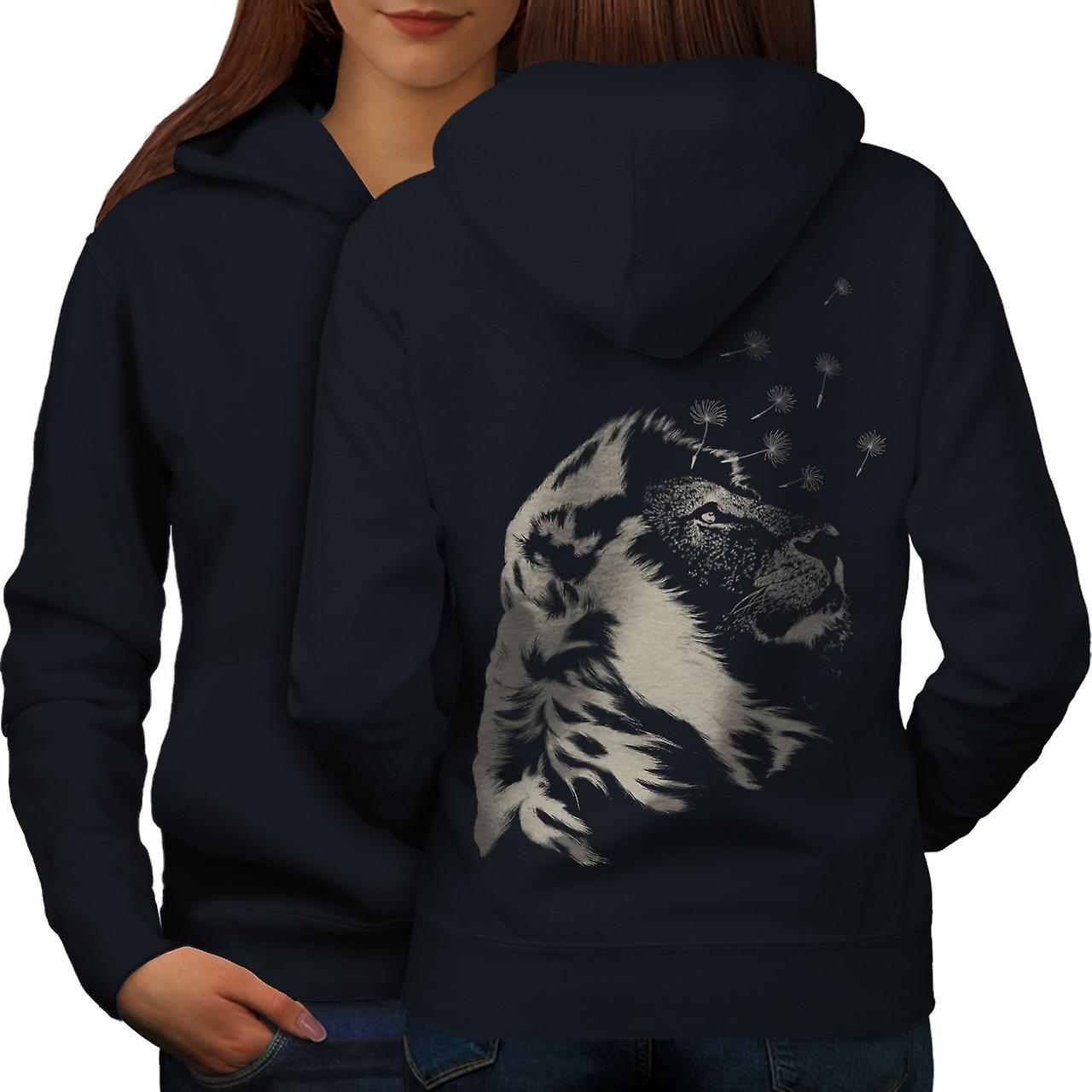 Les animaux Lion bête calme femmes NavyHoodie dos