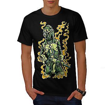 Robot Soldier Men BlackT-shirt | Wellcoda