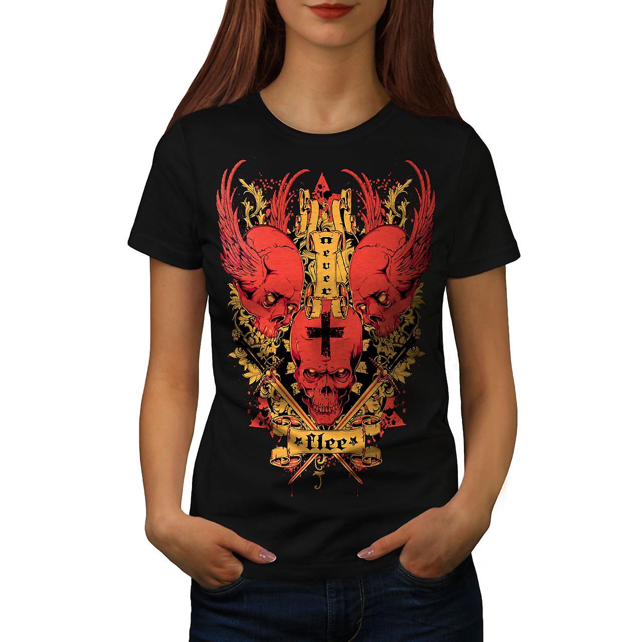 Never Flee Satan Skull Women Black T-shirt | Wellcoda