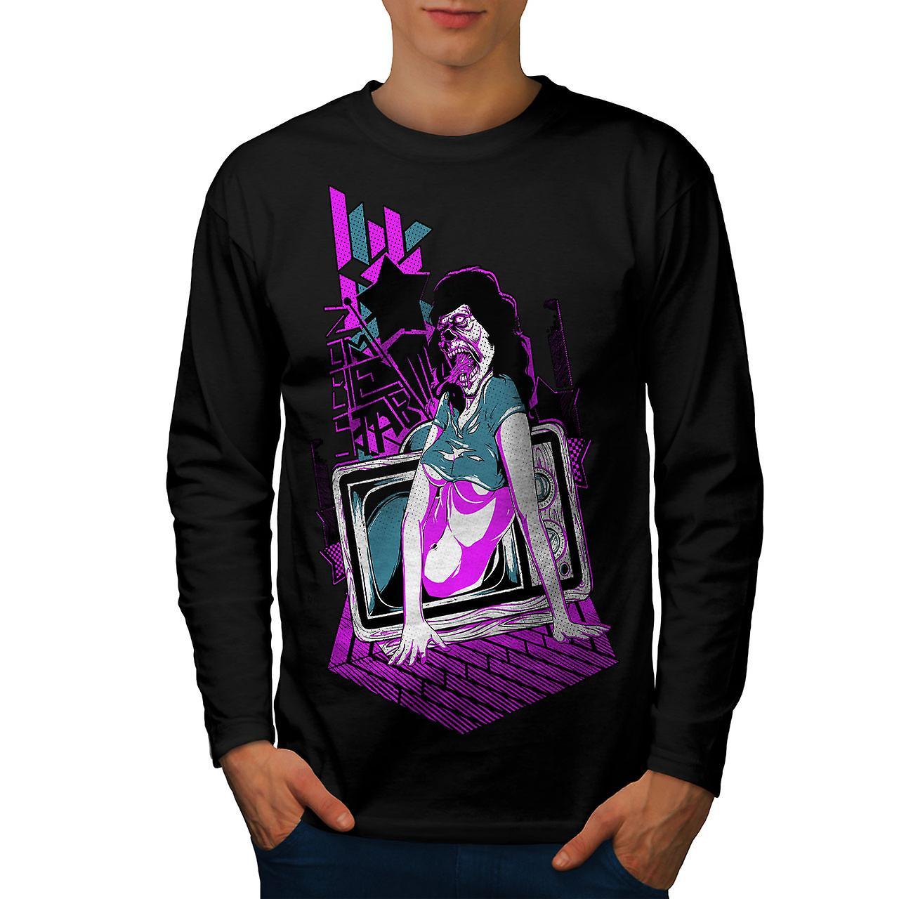 Dead Girl TV konst Zombie män Svart långärmad T-shirt | Wellcoda