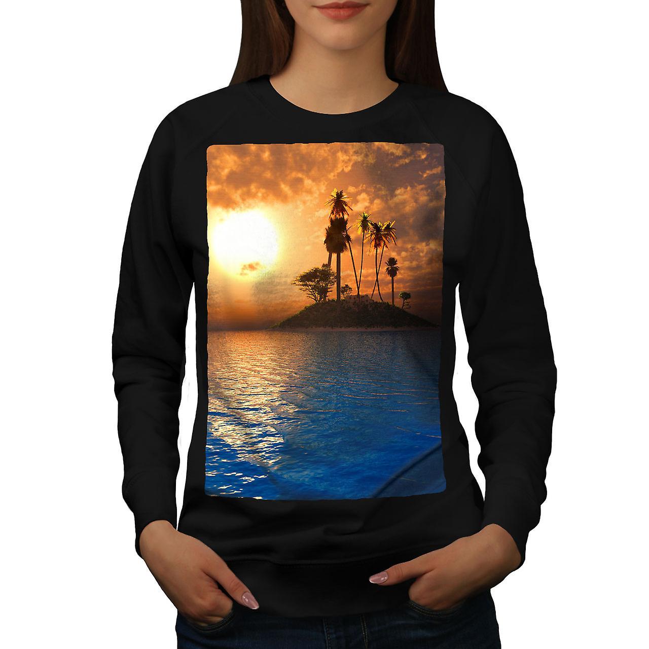 Île de l'océan soleil Nature femmes noirSweatshirt
