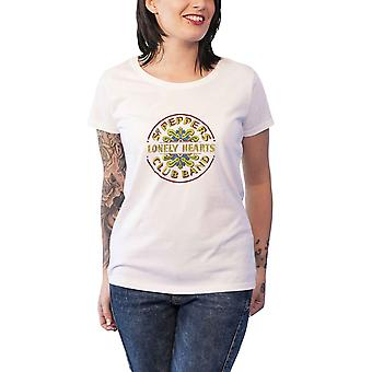 The Beatles T Shirt Sgt Pepper Foil Print Official Womens New White Skinny Fit