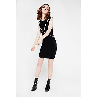 English Factory Knit Dress With Ruffle Detail