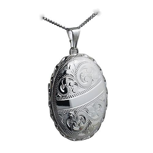 Silver 37x28mm engraved twisted wire edge oval Locket with a curb Chain 24 inches