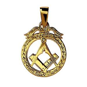 9ct Gold 32x25mm hand engraved Masonic emblem in a circle Pendant on a bail
