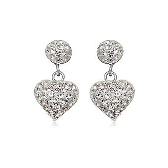 Hearts in white Crystal and Silver 925 earrings
