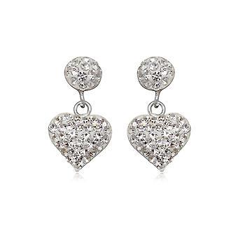 Boucles d'oreilles Coeurs en Cristal blanc et Argent 925