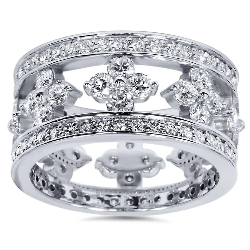 3 carats Diamond Style Vintage Eternity Ring 14K blanc or