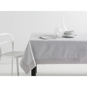 ES-TELA Jacquard Tablecloth with Kashmir Napkins Pearl with Apply