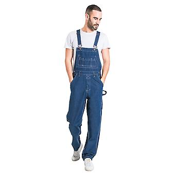 Mens Relaxed Fit Denim Dungarees - Stonewash Value overalls cheap dungarees