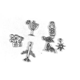 Packet 6 x Antique Silver Tibetan 10-22mm Hawaii Charm/Pendant Set ZX17665